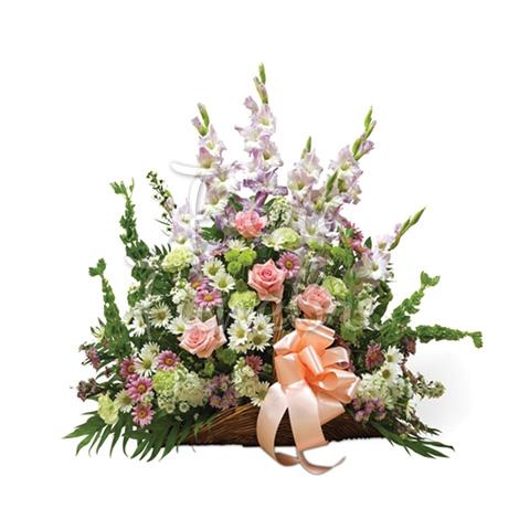 Cesto funebre di Rose e fiori gialli e lilium bianchi - Corona Funebre